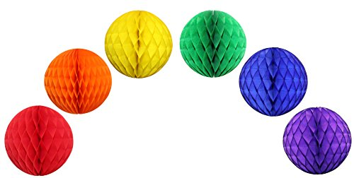 Classic Rainbow Party Decorations - 12 Inch Honeycomb Balls (6 Balls)
