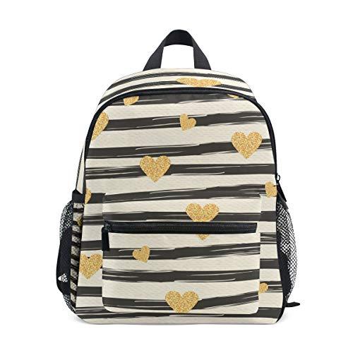 tripes and Golden Hearts Pattern Kids Backpack Pre-School Bag for Kindergarten Toddler Boy Girls ()