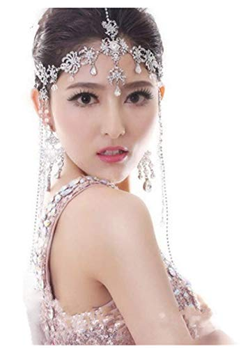 Cafurty Lady Tassel Hair Band Headdress Chain Rhinestone Diamond Wedding Bridal Head Wear Jewelry