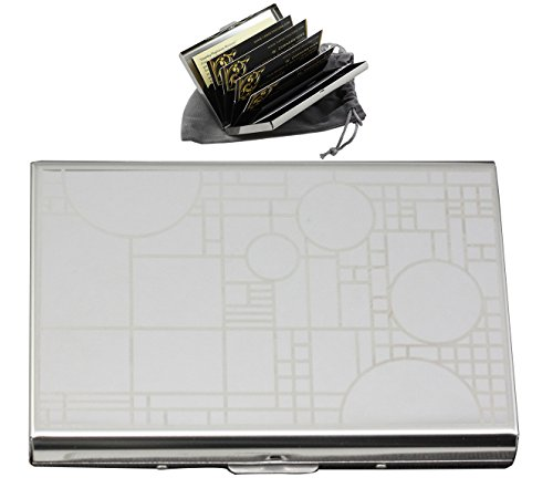 Ebros Frank Lloyd Wright FLW Coonley Playhouse Stainless Steel ID Credit Card Holder Case With RFID Blocking Technology (Card Decor And Floor Credit)