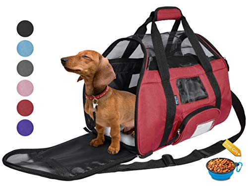 Tirrinia Soft Sided Pet Carrier Travel Bag for Small Dogs and Cats Small Animals Airline Approved with Removable Sherpa Lining Bed and Lost & Found Tag Red