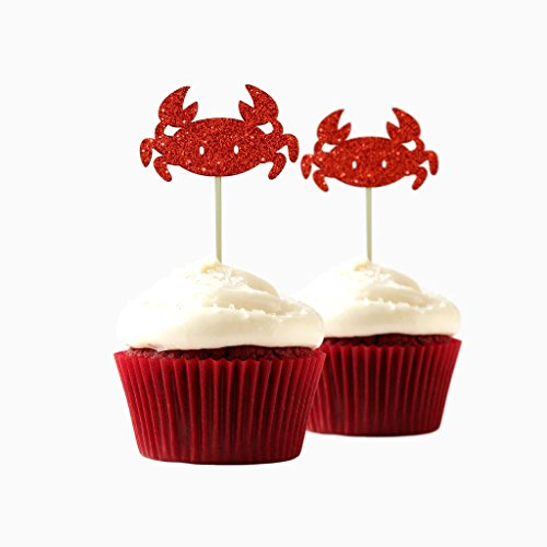 Crab Cupcake Topper 10 Pack Cupcake Topper Decoration Cake foamy red