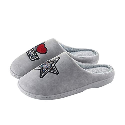 Accueil Chaussures Cuir Femmes Hiver Semi PU SFHK Antidérapant Tongues Chaussons Gray Imperméable Paquet Coton Faux Intérieur Fond Épais aYZHxtqx