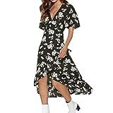 Keliay Dress for Women Summer,Fashion Women Boho Dress Flower Prints V Neck Waist Lace Up Short Sleeve Dress