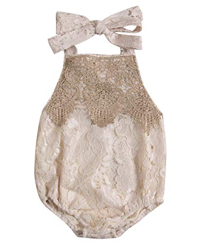 - Newborn Infant Baby Girl Clothes Lace Halter Backless Jumpsuit Romper Bodysuit Sunsuit Outfits Set Beige