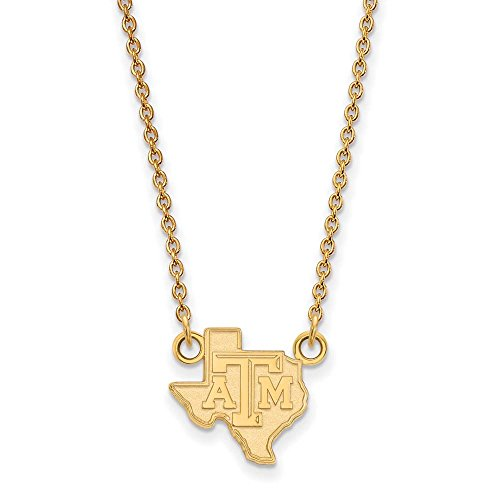 Texas A&M Small (1/2 Inch) Pendant w/Necklace (14k Yellow Gold) by LogoArt