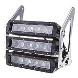 B Blesiya Motorcycle Retro Three-Tier LED Headlights Fairing Headlamp Head Light Lamp for Honda Grom MSX 125SF MSX125 2013 2014 2015 2016 - Silver