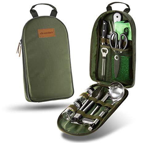 Camp Kitchen Utensil Organizer Travel Set Portable BBQ Camping Cookware Utensils Travel Kit Water Resistant Case|Cutting Board|Rice Paddle|Tongs|Scissors|Knife and Bottle Opener (New Version Green)