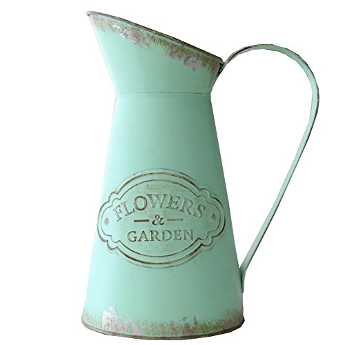 - APSOONSELL Shabby Chic Rustic Style Metal Jug Pitcher Flower Vase Watering Can for Home Garden Decoration -Tall