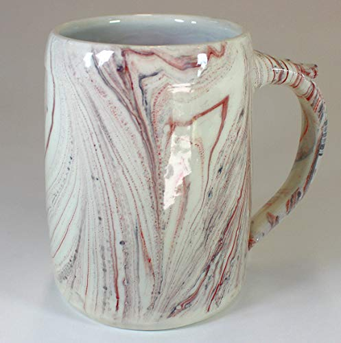 Red and Black Marbled Earthenware Tankard