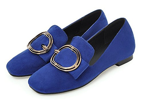SHOWHOW Womens Chic Buckle Low Cut Slip on Flats Shoes Blue zxqcV