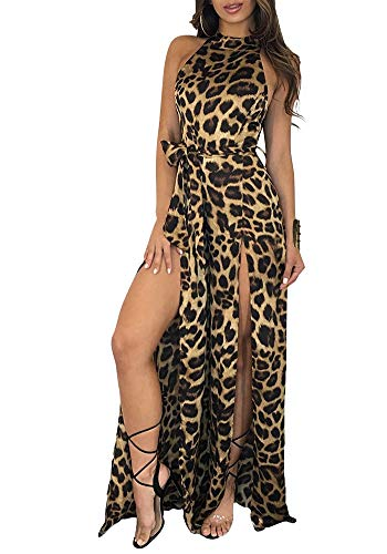 - Leopard Split Wide Leg Long Pants Jumpsuit Romper Mock Neck Sleeveless Club Party S