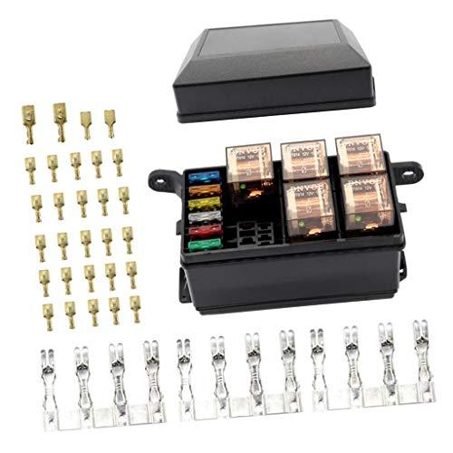 Almencla 6 Way Fuse Holder Relay Box W/Terminals+12V 40A Relay+5Pin 100A Relays: