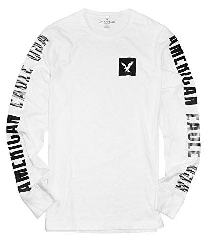 American Eagle Men's Long Sleeve Graphic T-Shirt M-13 (X-Large, 101 White)