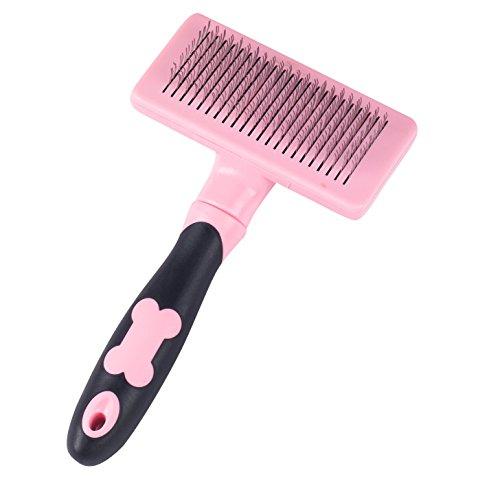 Daxpoo Pet Dog Cat Slicker De Shedding Self Cleaning Brushes (Pink)