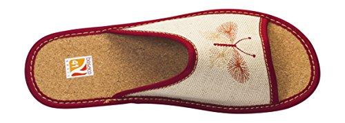 fermés cuir ou tailles de Lw010e pantoufles orteil liege 36 Confort lin ouverts chaussons 41 femmes U0ZxSB