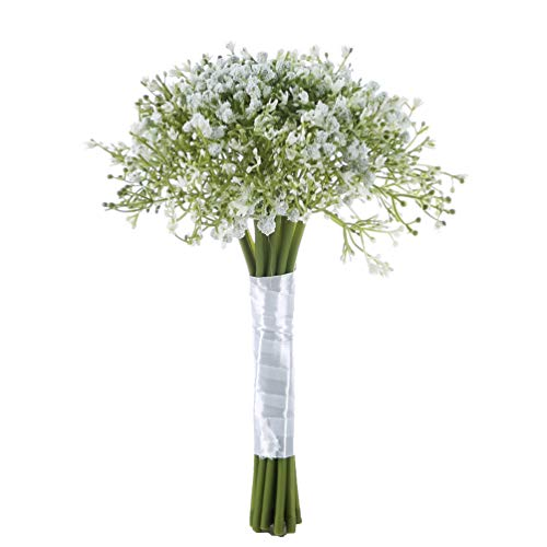 Sunrisee Baby Breath Artificial Flowers Wedding Bridal Bouquet Gypsophila Flowers with Satin Ribbon for Wedding Party Home Decoration, White]()