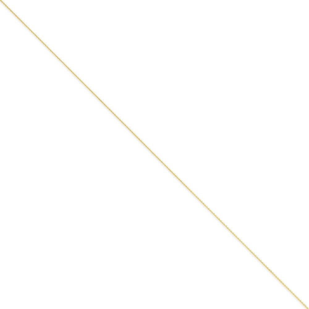 Mia Diamonds 14k Solid Yellow Gold .75mm Solid Polished Cable Necklace Chain -14'' (14in x 0.75mm)