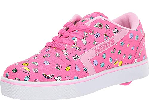 Heelys Shoes Wheels - Heelys Girl's GR8 Pro Prints (Little Kid/Big Kid/Adult) Hot Pink/Light Pink/Emoji 3 M US Little Kid