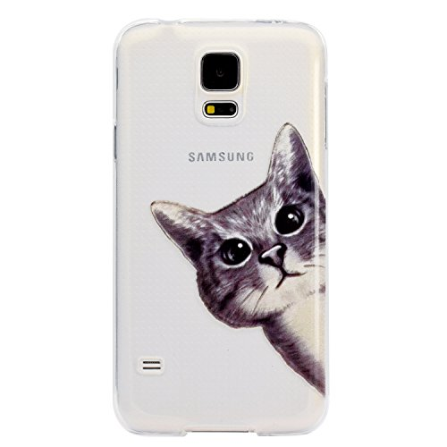 mokyo Samsung Galaxy S5Funda, antigolpes Niedlich patrón suave transparente Gel TPU Funda de silicona con [libre Stylus Lápiz] antiarañazos, antiarañazos de ultra fina goma Rubber Funda transparente  gato