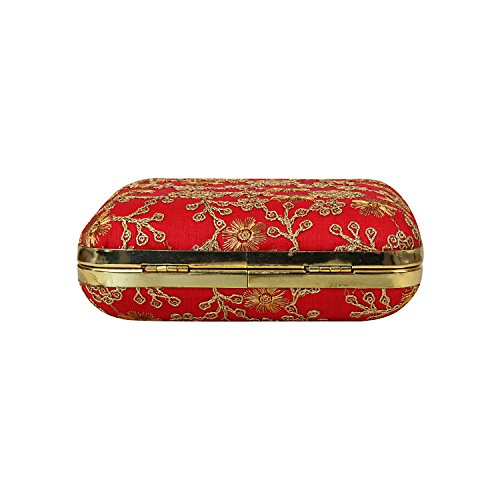 Silk Crafted Box Work Embroidery Zari with Designed Texture Designer on Clutch Red Specially Hand gfBq4