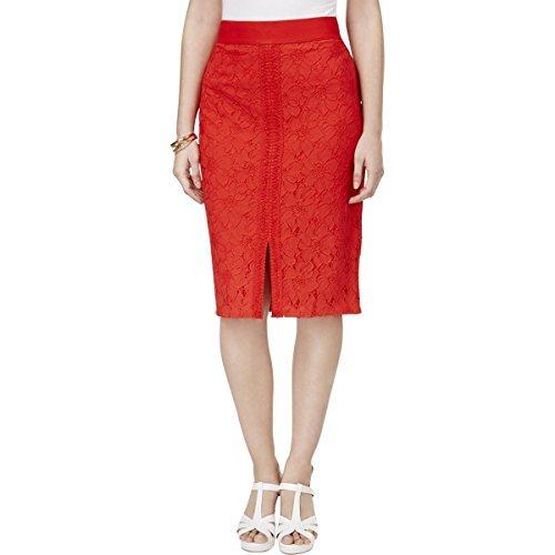 Thalia Sodi Womens Lace Crochet Trim Pencil Skirt Red M from Thalia