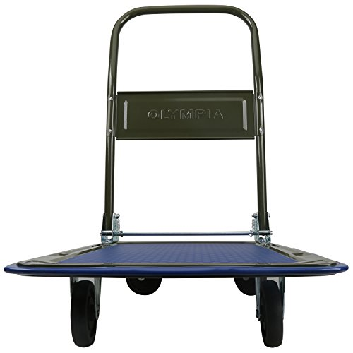 Olympia Tools 85-180 300LB Folding Rolling Flatbed Cart Hand Platform Truck Push Dolly for Loading, Olive Green with Blue Bumper