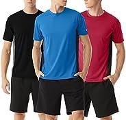 TEXFIT Men's 3 Pack Quick Dry T Shirts for Men, Panelled Color Block Active T-Shirts (3 pcs