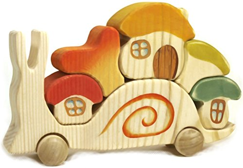 Snail with 3 Houses and 2 Mushrooms - Natural Waldorf Handcrafted Wooden Pull-Along Toy with 3D Jigsaw Puzzle - Montessori Eco-Friendly Toy (Caterpillar Wrapping Paper)