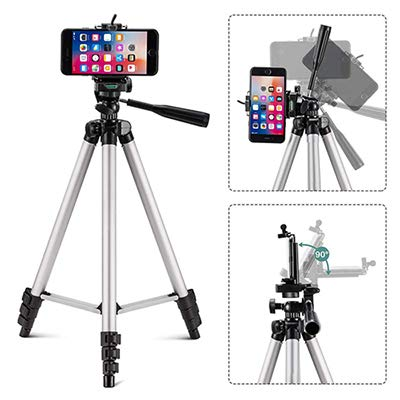 Tripod Lightweight Adjustable Portable and Foldable 3.5ft Tall from The Ground for Digital SLR & Video Cameras Mobile Clip and Camera Holder with Bag (DTR 550LW) (Can Handle up to 5 kg)(Black)