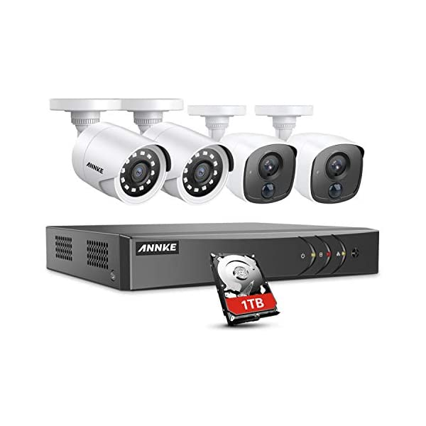 ANNKE Surveillance Camera System, 8CH 3MP CCTV DVR Recorder and 4X Full-HD 1080P Security Camera with Ultra Clear 100ft Night Vision for Outdoor Use, Email Alert with Snapshot, 1TB Hard Drive Included