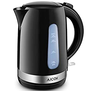 Electric Kettle 1.7L BPA-Free Electric Tea Kettle, 1500W Fast Heating Cordless Water Boiler with British Strix Control, Hot Water Kettle Electric with Auto Shut-Off & Boil Dry Protection By Aicok
