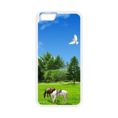 """SYYCH Phone case Of Blue sky meadow and Horse Cover Case For iPhone 6 Plus (5.5"""")"""