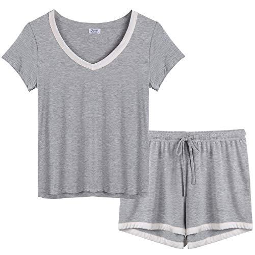 - Joyaria Ladies Comfy Bamboo Pj Sets V Neck Short Sleeve Pajama Shorts Set Loungewear (Gray, XL)
