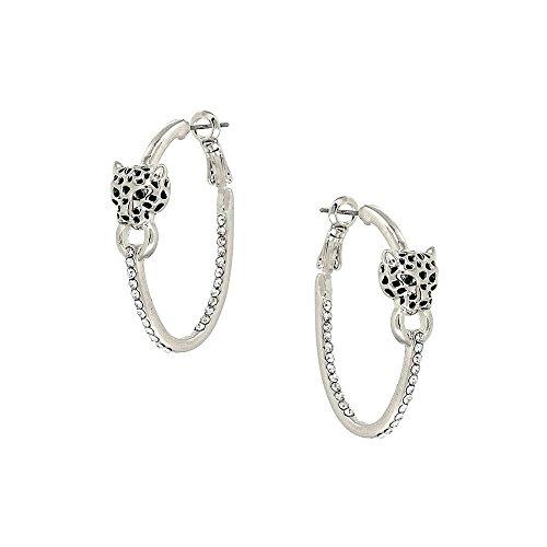 Liavy's Leopard Fashionable Earrings - Hoop - Sparkling Crystal - Rhodium Plated