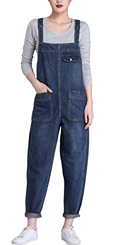 (Gihuo Women's Classic Bib Overall Denim Jumpsuit Sleeveless Romper with Pockets (Medium, Dark Blue) )