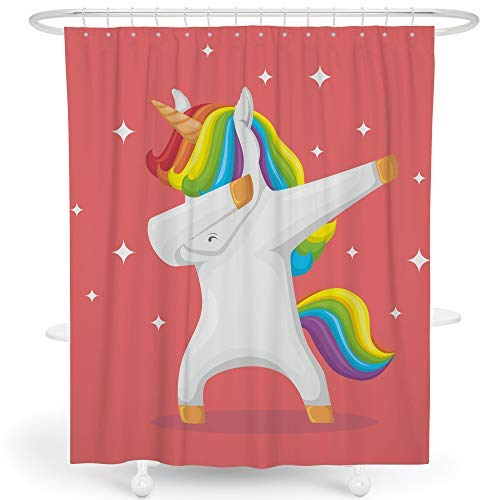(SimbaDeco Kids Shower Curtains for Bathroom Pink Wildlife Animal Print Cute Cartoon Rainbow Dancing Unicorn Shiny Stars Shower Curtain Set Polyester Machine Wash 72x72 Inch Hooks Included)