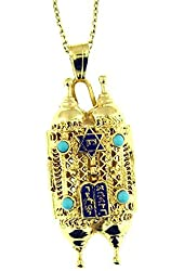 14 Kt Yellow Gold Turquouse Torah Pendant Necklace 14 Kt