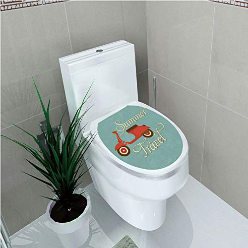 Toilet Sticker,1960s Decorations,Summer Travel Scooter Vacation Vespa Classic Wheels Rock Cool Cycle Hippy Motorbike Design Decorative,Diversified,W12.6