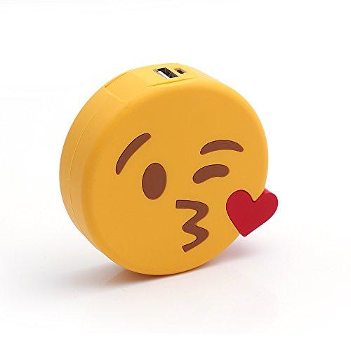 iProtect Emoji-Powerbank 2000mAh Externes Ladegerät im Kussmund-Emoji-Design für Smartphones und andere Geräte mit USB-Anschluss - inklusive Micro USB-Ladekabel