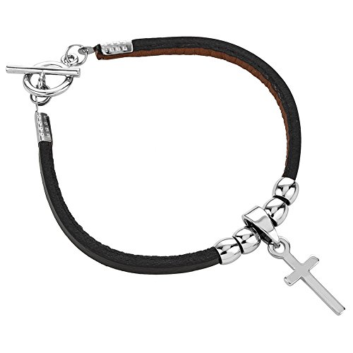 Chuvora Rhodium Plated Stainless Black Leather Cross Charm Single Wrap Bracelet w/Toggle Clasp, 7.5 inches
