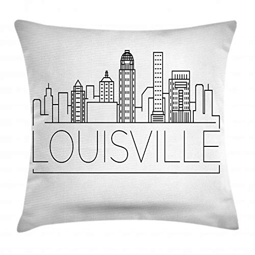 Lunarable Kentucky Throw Pillow Cushion Cover, Minimalist Buildings of Louisville City Greyscale Typographic Illustration, Decorative Square Accent Pillow Case, 20