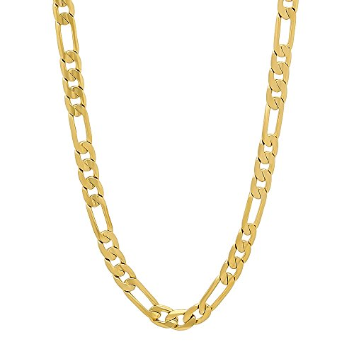 4mm 14k Gold Plated Flat Figaro Link Chain Necklace, 22