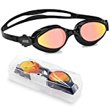 Aegend Red Mirrored Swim Goggles, Liquid Silicone Swimming Goggles No Leaking Anti Fog UV Protection Triathlon Swim Goggles with Free Protection Case for Adult Men Women Youth Kids Child