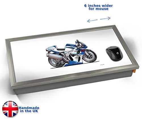 GSXR Motorbike Bike Illustration Caricature Cushioned Bean Bag Laptop Lap Tray Desk - Built-in EMF Shield (Electro Magnetic Field) - Chrome Effect Frame ()