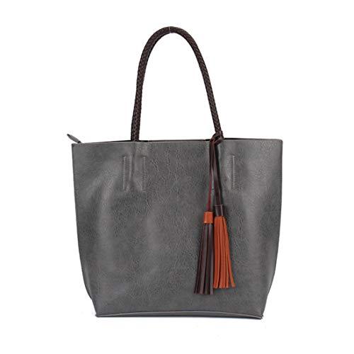 de cartera mensajero Borlas Mujeres bolso Oscuro colección monedero negocio bolso clásico Luckywe viaje Gris wFq16W