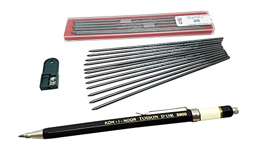 Koh-i-noor Toison D'or 5900CL ALL Metal Lead Holder 2mm with 12 pieces 2B lead refill & 1 lead Sharpener, technical drawing mechanical drafting pencil set (Drafting Lead Pencil Holder)