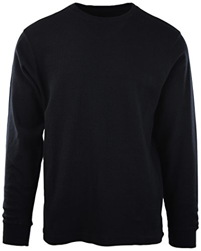 ChoiceApparel Mens Long Sleeve Thermal Waffle Pattern Crew Neck Shirts (L, 1802-BLACK) by ChoiceApparel