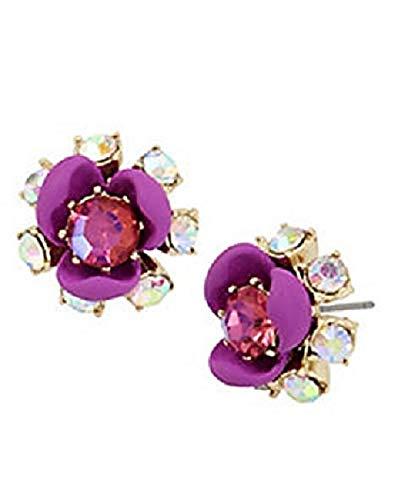 Betsey Crystal Johnson Pink - Betsey Johnson Gold-Tone Crystal Dark Pink/Rose Flower Stud Earrings