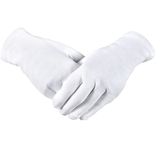 Hicarer 3 Pairs White Cotton Gloves Cosmetic Gloves for Dry Hand Moisturizing Jewelry Inspection Spa (L Size) (White Moisturizing)